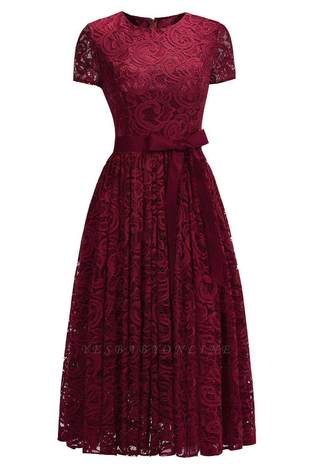 Short Sleeves Sheath Sexy Red Lace Prom Dresses with Ribbon Bow