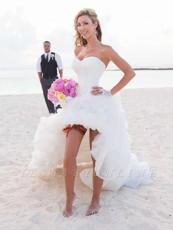 Sleeveless Sweetheart Asymmetrical Organza A-Lines Wedding Dresses