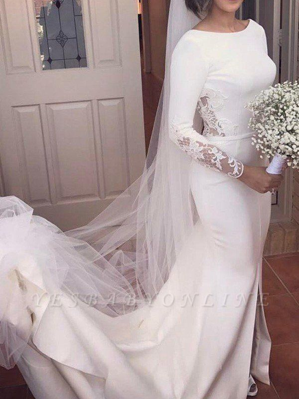 Dazzling Lace Satin Long Scoop Court Train Sleeves Sexy Mermaid Wedding Dresses