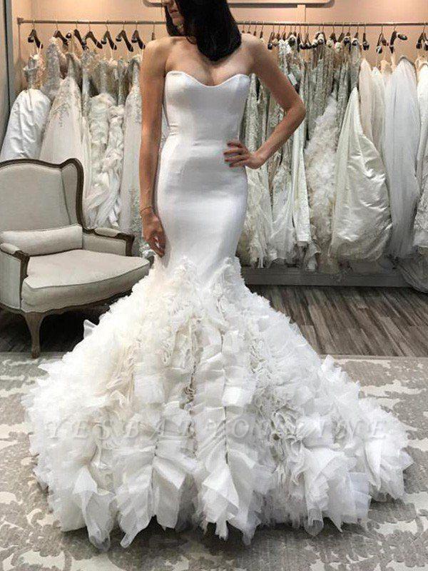 Sleeveless Court Train Sweetheart Organza Sexy Mermaid Wedding Dresses