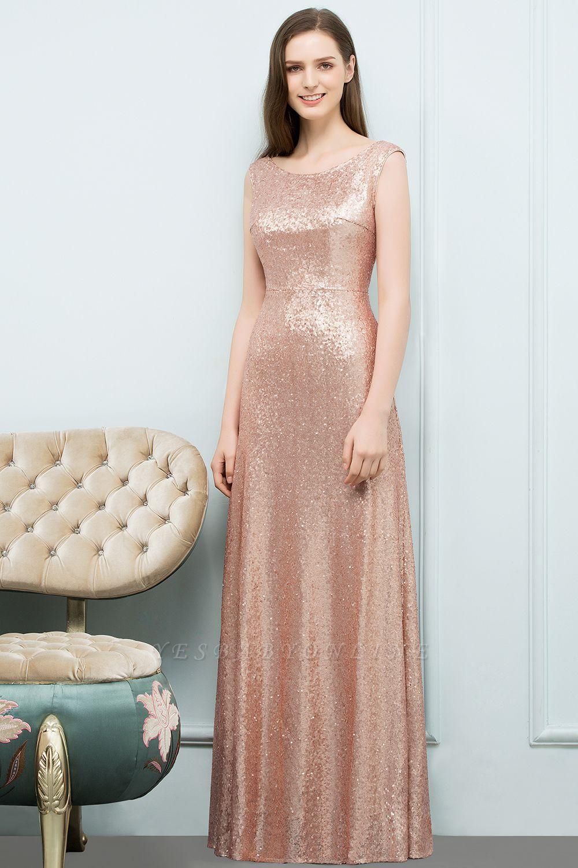 A-line Sequined Scoop Sleeveless Floor-Length Bridesmaid Dress