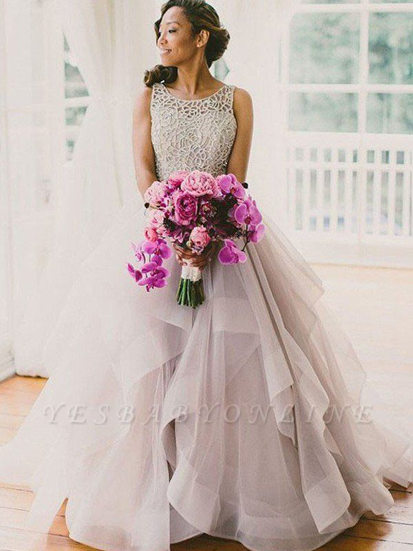 Organza Scoop Puffy Beaded Sweep Train Sleeveless Wedding Dresses