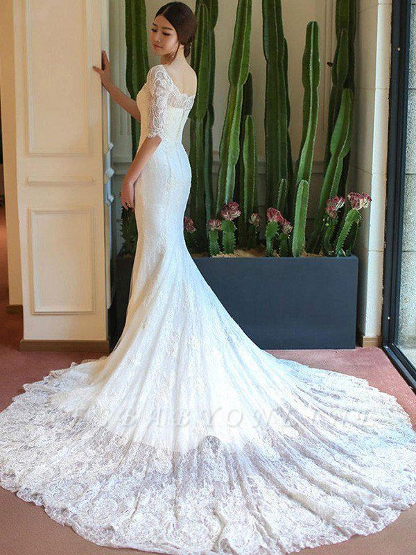 Applique Square Cathedral Train Sexy Mermaid Lace 1/2 Sleeves Wedding Dresses