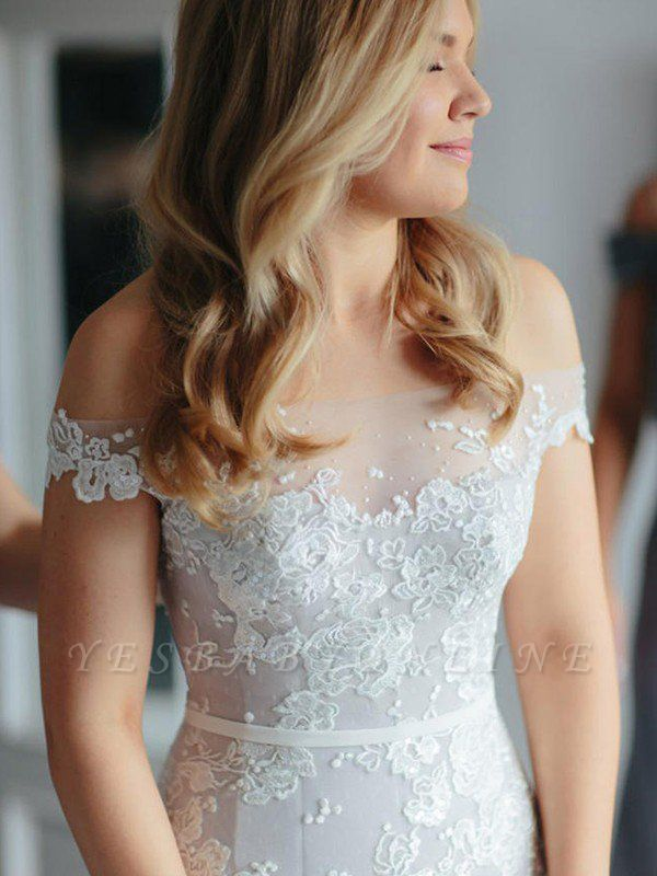 Tulle Court Train Sleeveless Applique Sexy Mermaid Off-the-Shoulder Lace Wedding Dresses