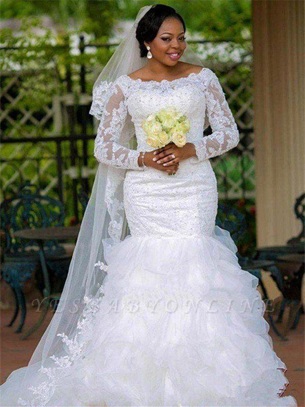 Chapel Train Organza Long Sleeves Square Sexy Mermaid Applique Wedding Dresses