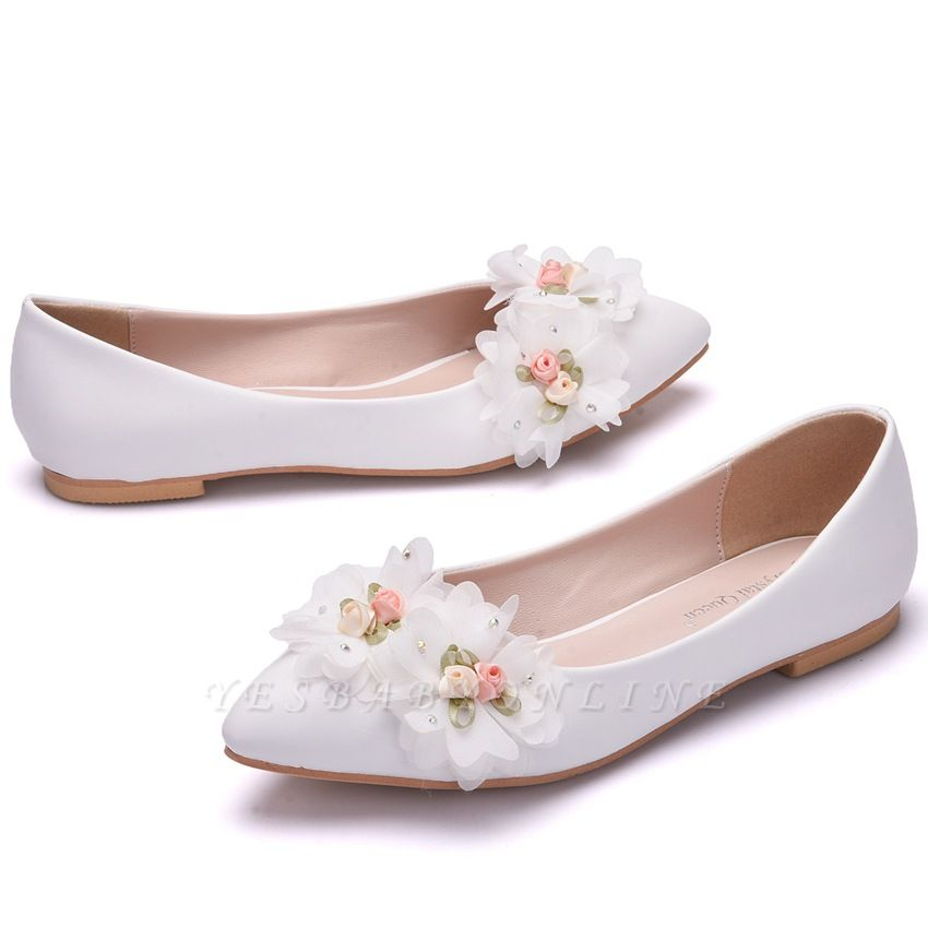 Fashion Pionted Toe PU Flat Wedding Shoes with Flowers
