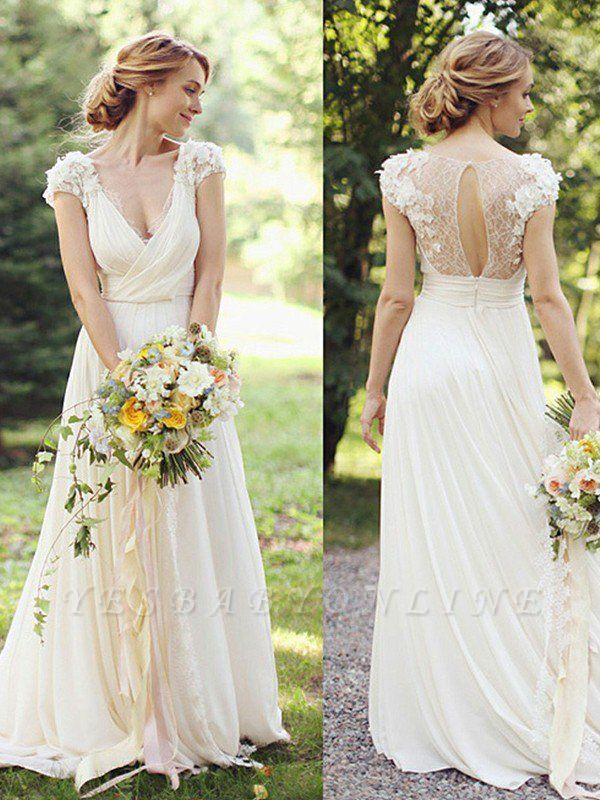 V-neck Short Sleeves Floor-Length Ruched Chiffon Wedding Dresses