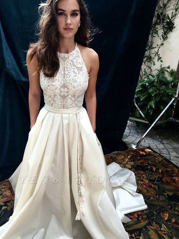 Glamorous Sweep Train Satin Sleeveless Halter Lace Wedding Dresses