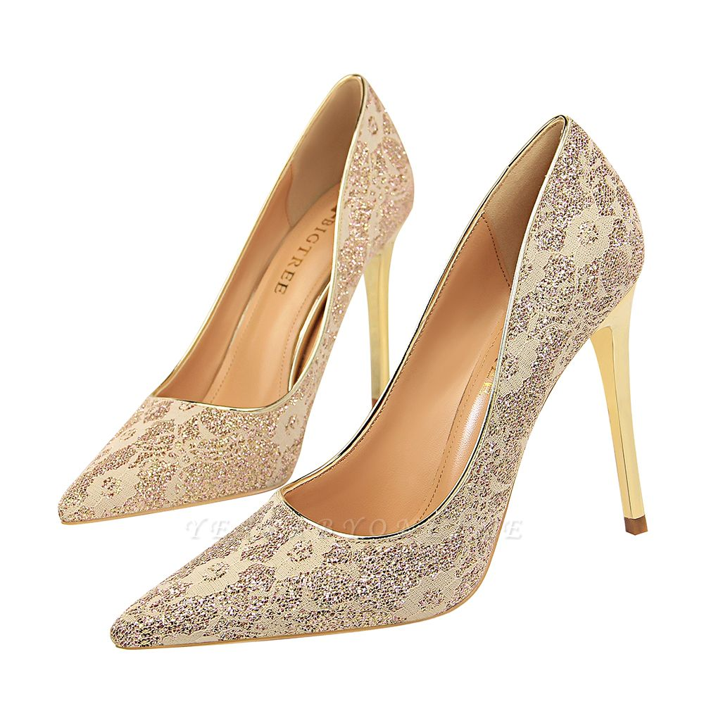 Fashion Pionted Toe High Heel Lace Wedding Shoes
