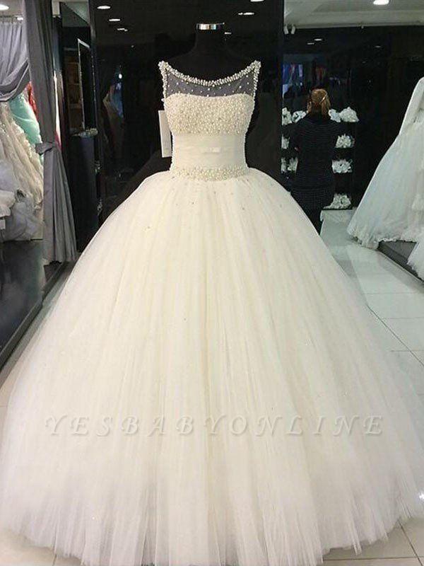 Beaded Scoop Sleeveless Floor-Length Tulle Puffy Wedding Dresses