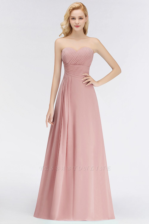 Elegant Ruched Sweetheart Long Chiffon Bridesmaid Dress
