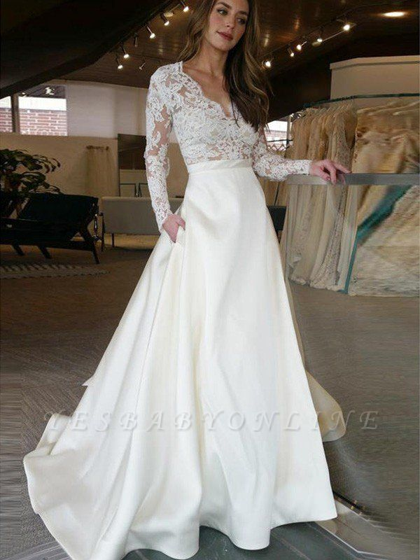 Elegant Sweep Train V-neck Wedding Dresses   Satin Applique Long Sleeves Bridal Gowns