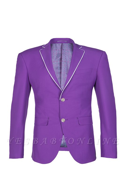 Lilac Latest Design Peak Lapel Single Breasted Two Button Wedding Suit