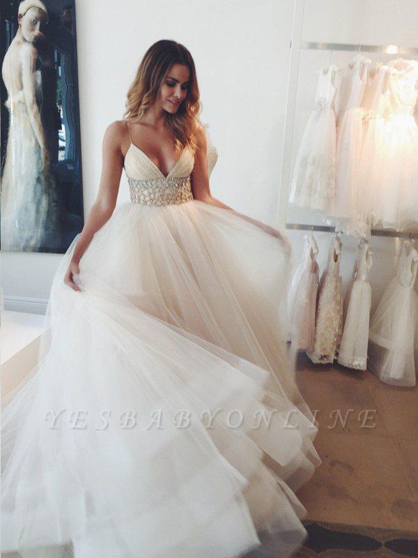 Puffy Crystal Tulle Wedding Dresses | Spaghetti Straps Sleeveless Court Train Bridal Gowns
