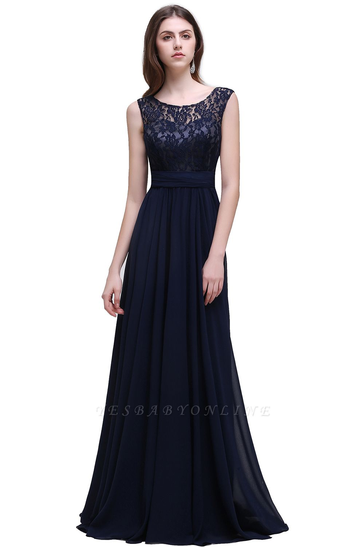 Elegant A-line  Lace Scoop Sleeveless Floor-Length Bridesmaid Dress