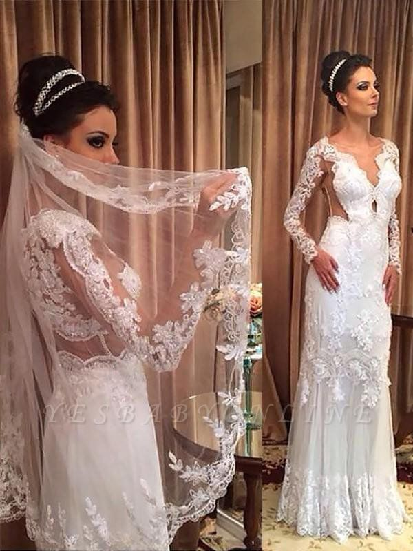 Sweep Train Column Tulle V-neck Long Sleeves Applique Wedding Dresses