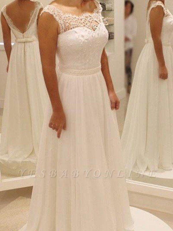 Bowknot Chiffon Scoop Sleeveless Sweep Train Lace Wedding Dresses