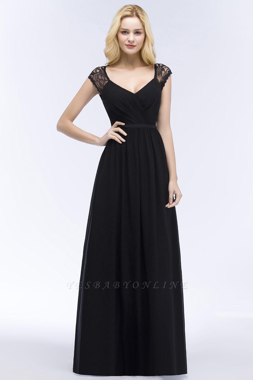 Elegant Mermaid Lace V-Neck Sleeveless Floor-Length Bridesmaid Dresses with Sash