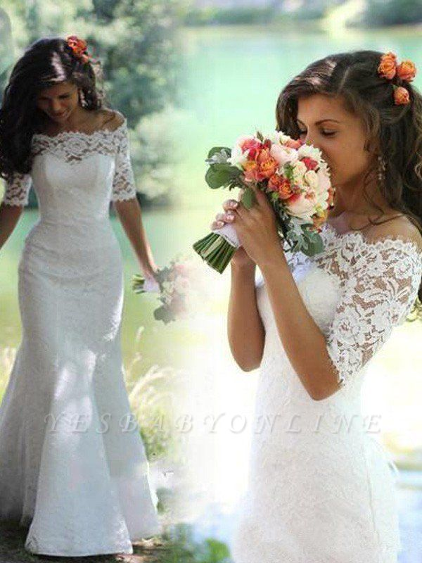 1/2 Sleeves Sweep Train Off-the-Shoulder Lace Sexy Mermaid Wedding Dresses