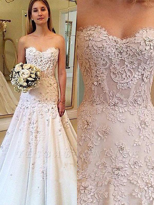 Charming Sweetheart Court Train Sleeveless Lace Wedding Dresses