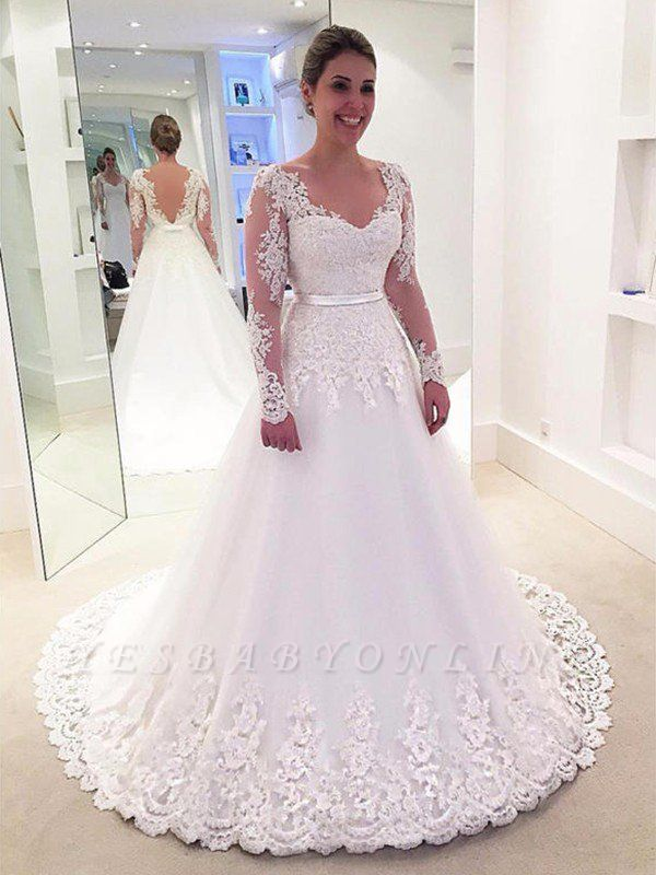 Long Sleeves Lace V-neck Sweep Train Tulle Applique Wedding Dresses
