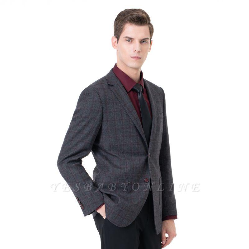 Career Suits Two Button Single Breasted Lattice Peak Lapel