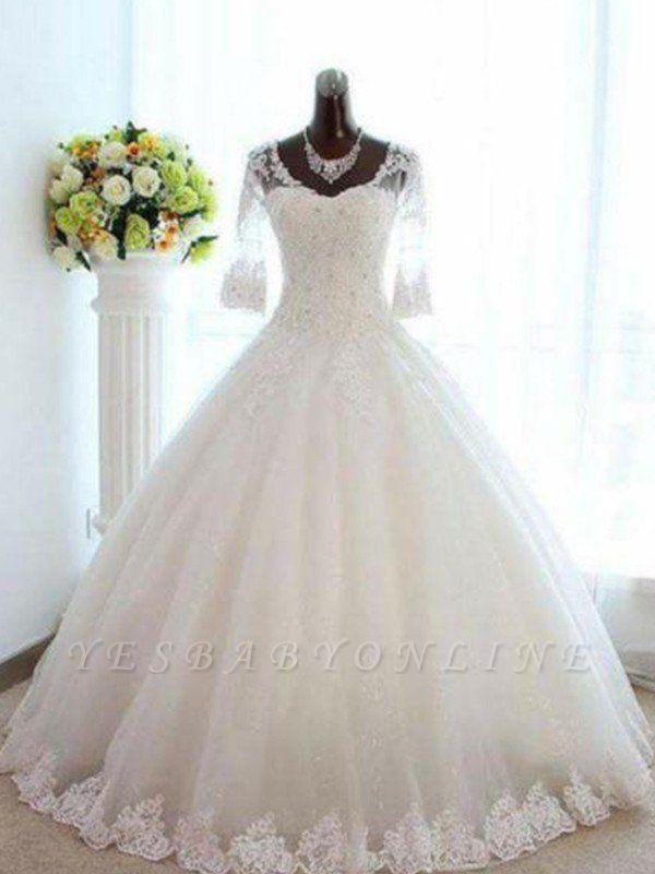 Floor-Length Tulle Puffy Beads V-neck 3/4 Sleeves Bateau Wedding Dresses