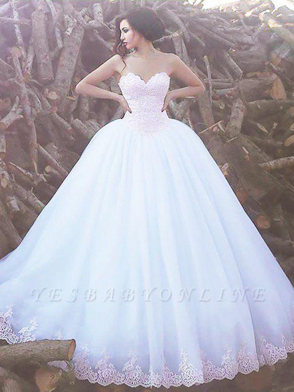 Puffy Sweep Train Sleeveless Sweetheart Organza  Wedding Dresses