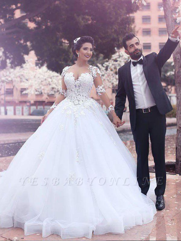 Long Sleeves Sweetheart Tulle Puffy Court Train Wedding Dresses