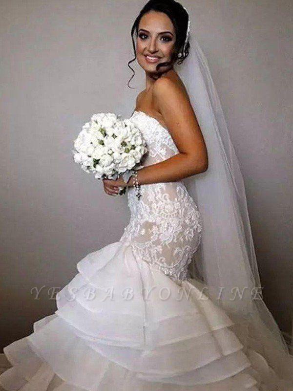 Chapel Train Organza Lace Sexy Mermaid Wedding Dresses | Ruffles Sweetheart Applique Bridal Gowns