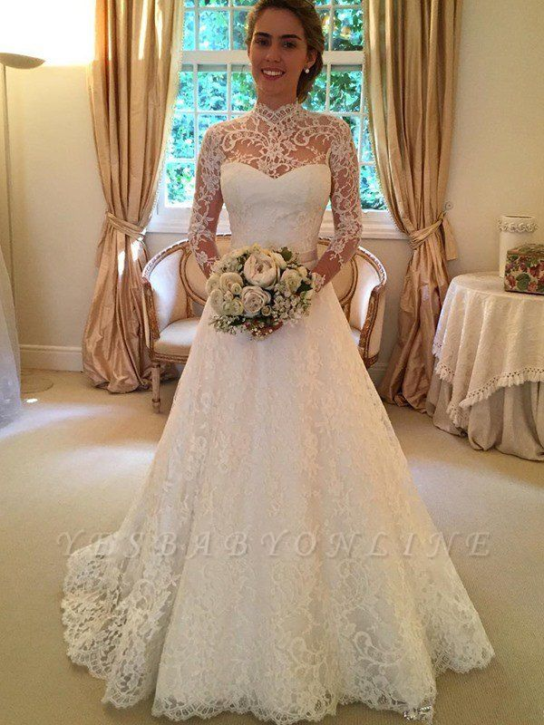 High Neck Court Train Puffy Long Sleeves Lace Wedding Dresses