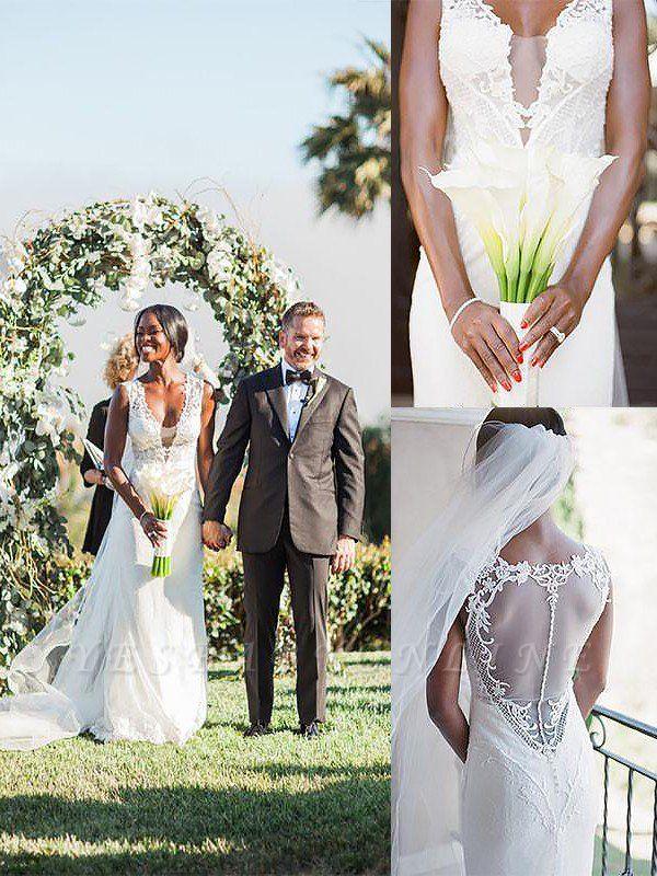 Stunning Sweep Train Sheath V-neck Tulle Wedding Dresses