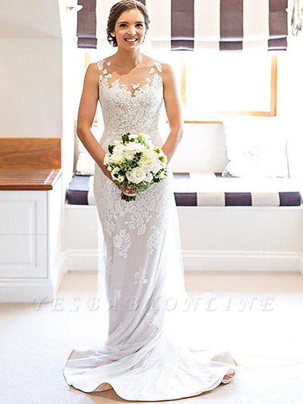 Court Train Applique Sleeveless Column Scoop Lace Wedding Dresses