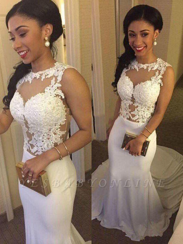 Glamorous Court Train Satin Sexy Mermaid Applique Wedding Dresses