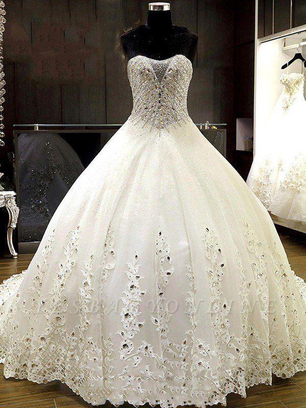 Sweetheart Sleeveless Cathedral Train Tulle Puffy Rhinestone Wedding Dresses