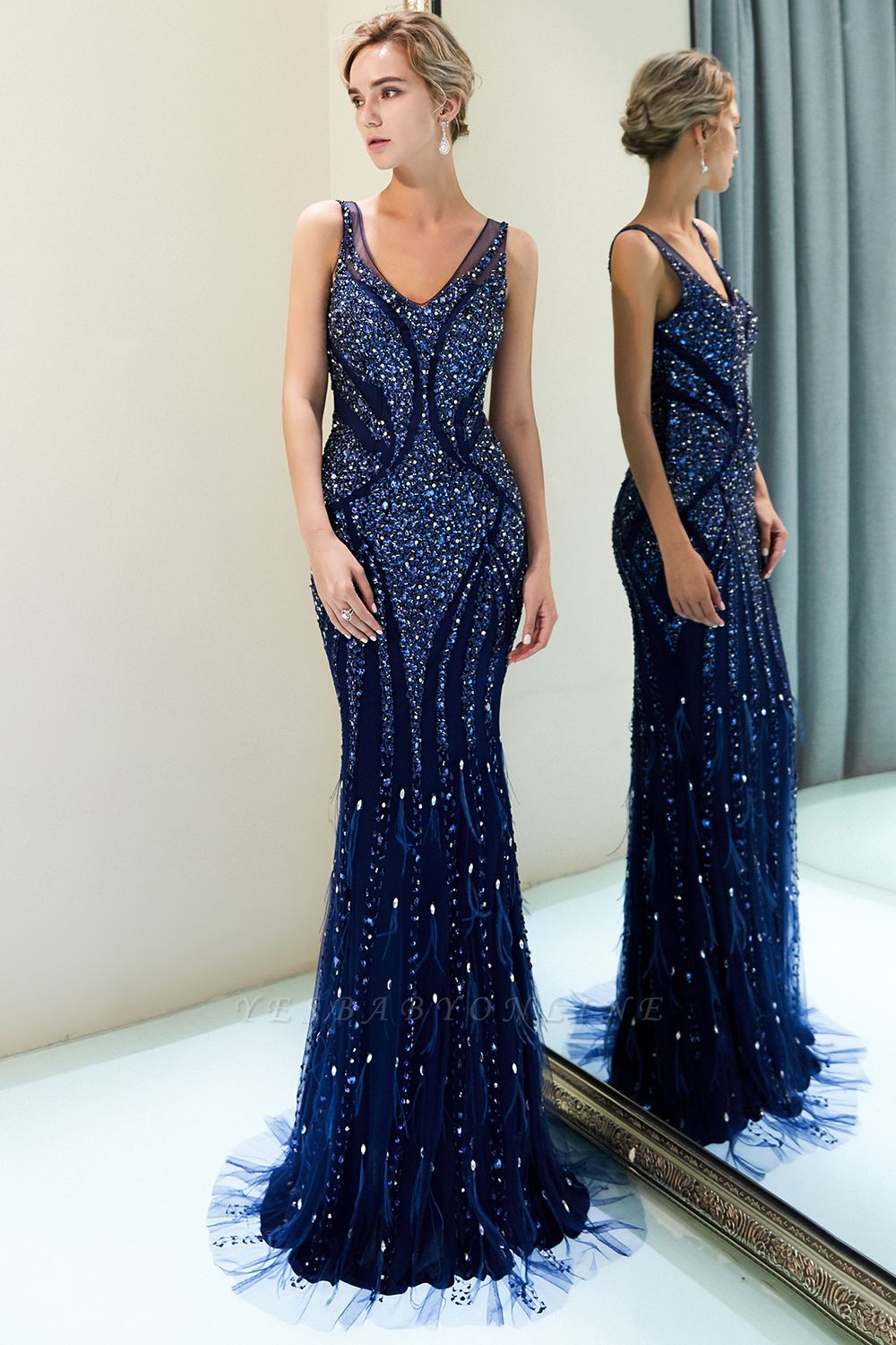 Mermaid  Sleeveless V-neck Sequins Pattern Long Prom Dress | 2019 Evening Dress