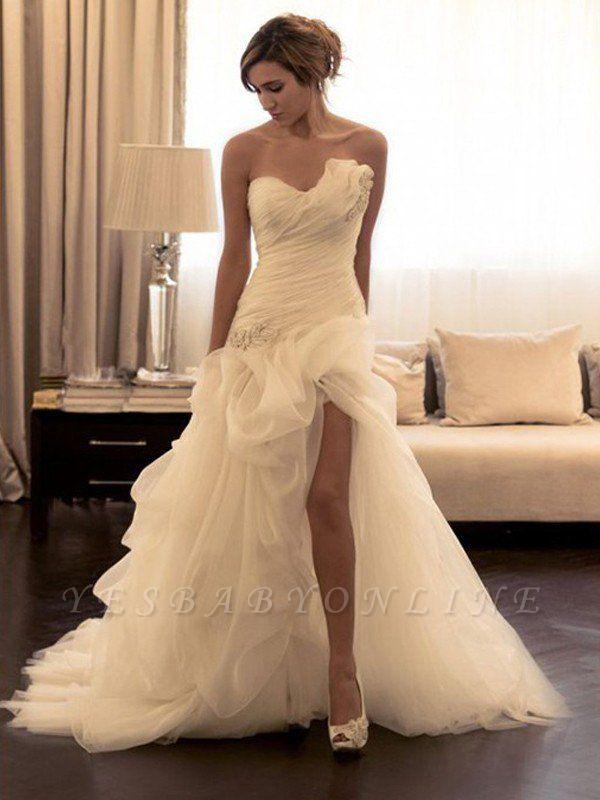 Beaded Organza Puffy Wedding Dresses   Sweep Train Sweetheart Sleeveless Bridal Gowns