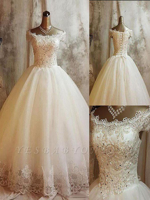 Sweep Train Puffy Applique Sleeveless Off-the-Shoulder Tulle Wedding Dresses