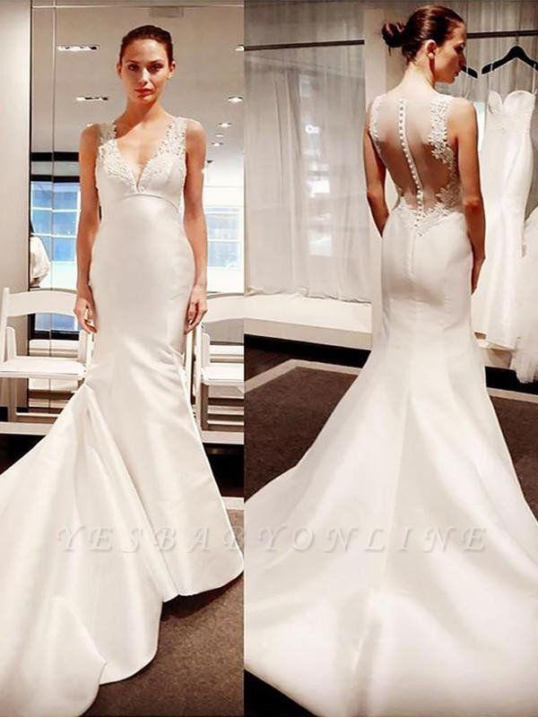 V-neck Court Train Satin Sleeveless Sexy Mermaid Applique Wedding Dresses