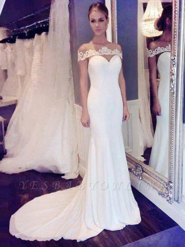 Glamorous Court Train Scoop Chiffon Sleeveless Sexy Mermaid Lace Wedding Dresses