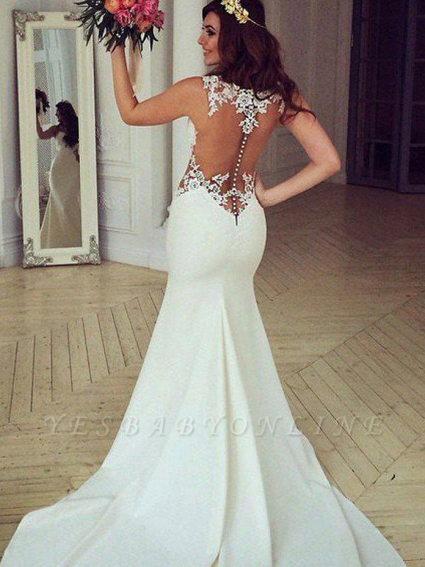 Sexy Mermaid Lace Wedding Dresses | Sweep Train Applique Sleeveless Scoop Bridal Gowns