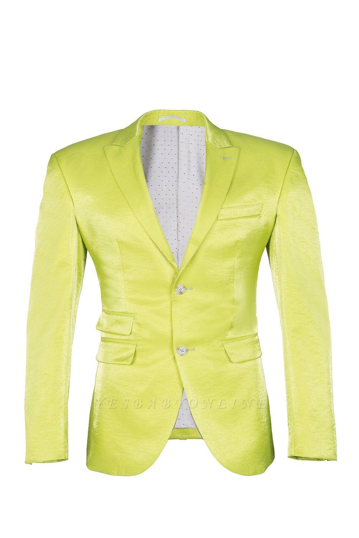 Sage Two Button Latest Design Peak Lapel Wedding Suit Back Vent
