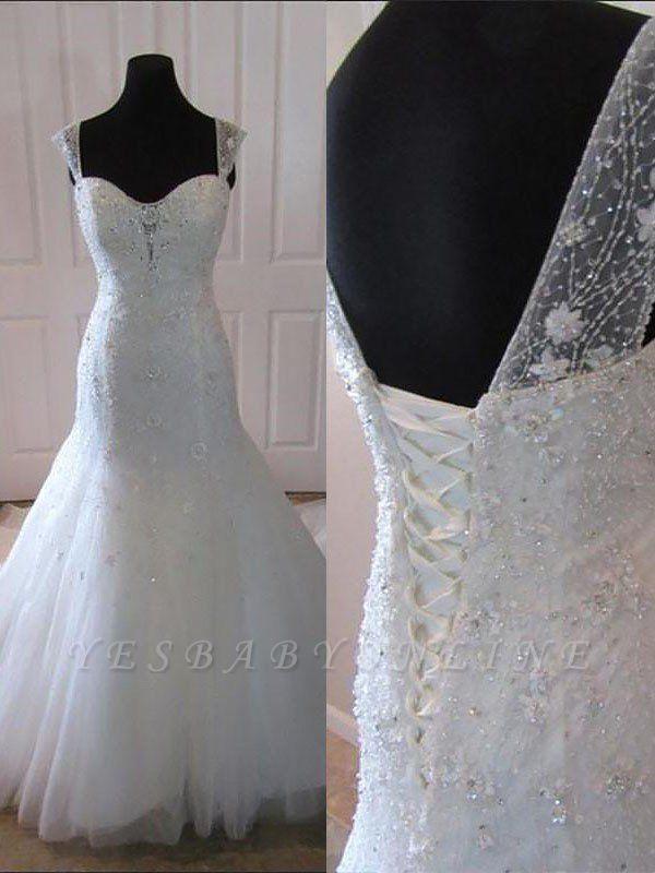 Straps Court Train Sleeveless Tulle Sexy Mermaid Wedding Dresses