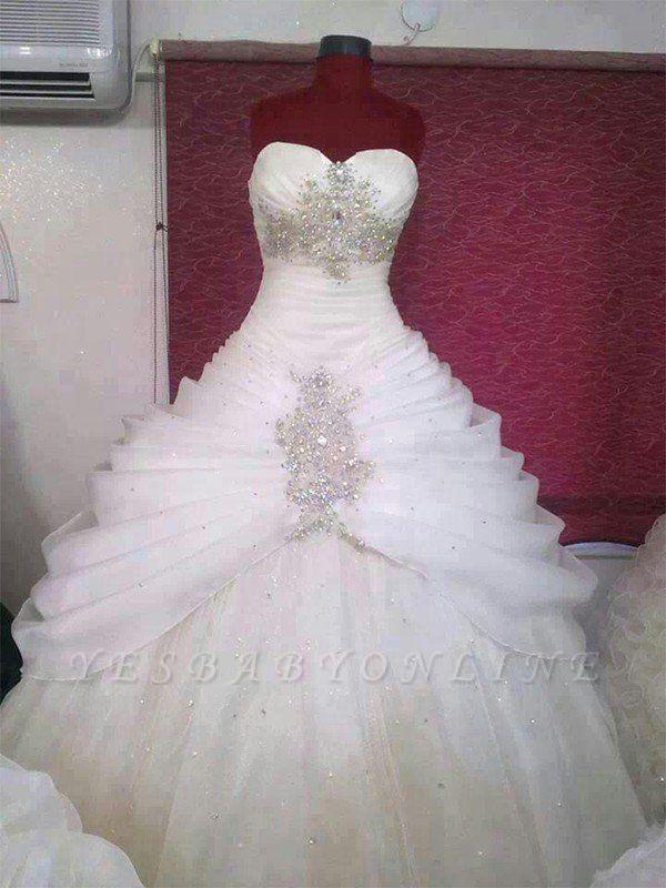 Floor-Length Puffy Sweetheart Tulle Sleeveless Ruffles Wedding Dresses