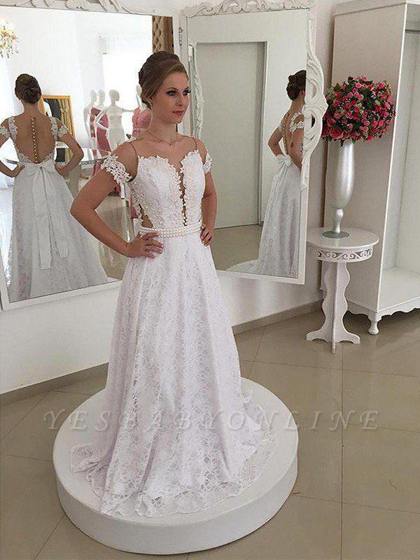 Sweep Train Scoop  Lace Short Sleeves Wedding Dresses