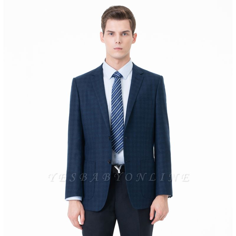 Lattice Two Button Peak Lapel Two Pieces with Pants Comfortable Groomsmen
