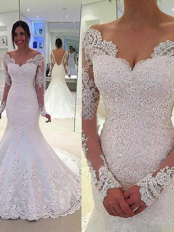 Long Sleeves V-neck Lace Court Train  Sexy Mermaid Tulle Wedding Dresses