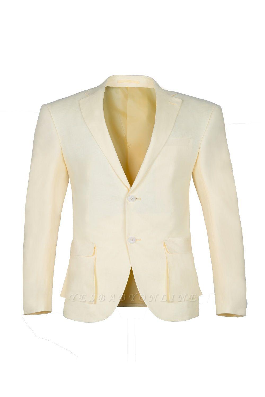 Back Vent Champagne Peak Lapel Two Button Fashion Wedding Suit
