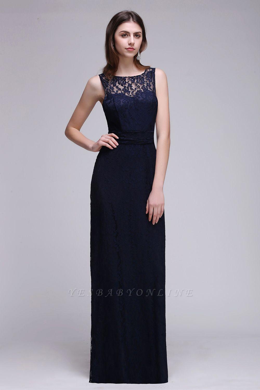 Elegant A-Line Lace Scoop Sleeveless Hollow-Back Floor-Length Bridesmaid Dress