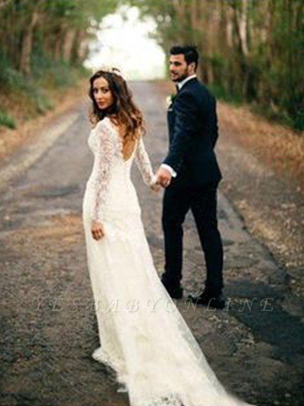 V-neck Column Court Train Long Sleeves Applique Lace Wedding Dresses